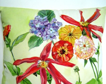 Garden On Show Pillow - Hand Painted Original 15 x 15 Garden Dahlia Zinnia Blue Hydrangea Lily Garden Green Stunning Floral Show Colorful