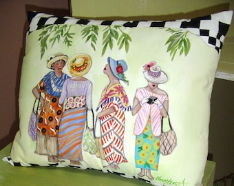Island Market Day - Pillow Hand Painted Original Art 14 x 17 Charming Colorful Unique Island Flair Costumes Black/White Checks Island Decor