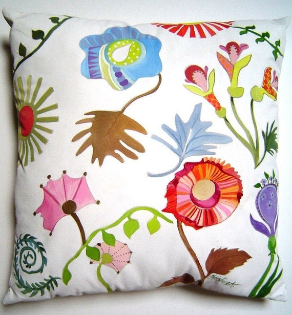 Whimsical Summer Splash Pillow Hand Painted Floral Abstract Etsy