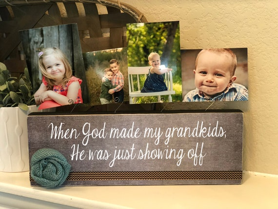 Grandma Gift | When God Made My Grandkids He Was Just Showing Off Gift For Grandparents | Gift For Grandma