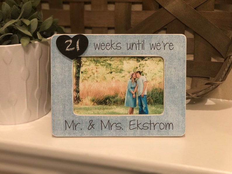 Chalkboard Frame For Bride To Be /& Mrs. Future Mr Engagement Countdown Days Until We Say I Do
