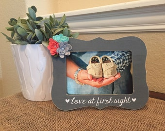 Love at first sight frame ultrasound personalized custom picture frame gift new baby frame pregnant baby ultrasound frame frame baby frame