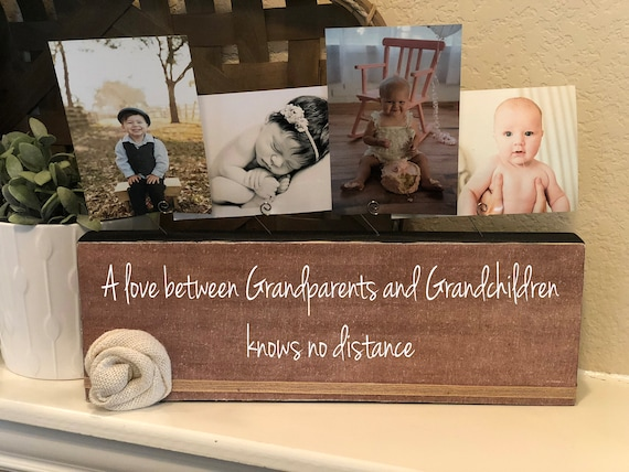 Personalized Grandparents Gift A Love Between Grandparents and Grandchildren Picture Frame Photo Block Gift for Grandma and Grandpa