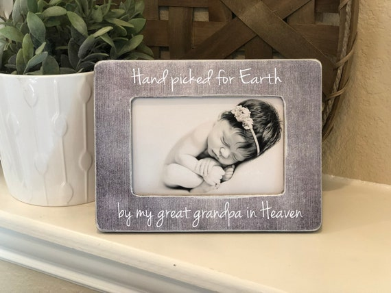 Hand Picked For Earth By My | Rainbow Baby | Grandparents Picture Frame | Baby Shower Gift | New Baby Frame Pregnant Baby Ultrasound