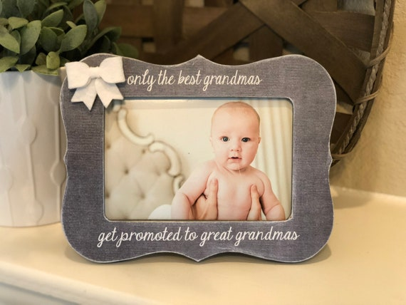 The Best Grandmas Get Promoted To Great Grandmas | Personalized Picture Frame For Grandma | Great Grandma Gift