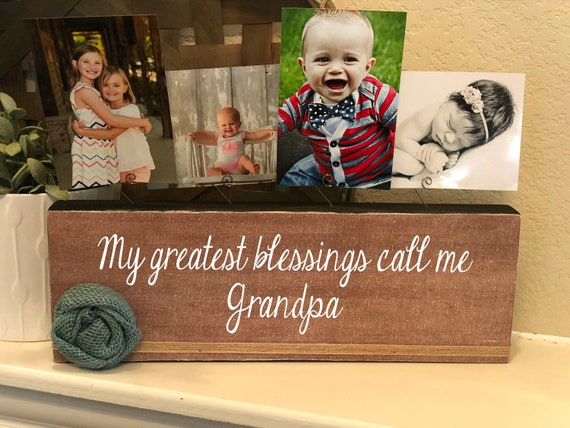 Christmas Gift For Grandpa | Papa Gift | My Greatest Blessings Call Me Grandpa | Personalized Picture Frame Board For Grandpa