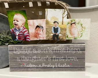 Father's Day Gift For Dad | Personalized  Gift For Husband From Kids | Photo Block For Dad | First Christmas Gift | New Dad Gift
