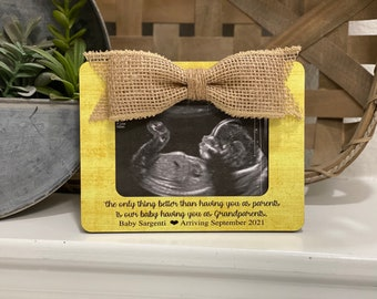Pregnancy Reveal Frame Best Parents Get Promoted To Grandparents Frame | New Grandparents To Be Gift | Baby Announcement To Parents