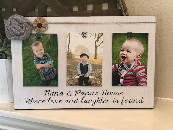 Nana Papa Gift | Personalized Christmas Gift For Grandparents | Where Love And Laughter Is Found Picture Frame Gift For Grandparents