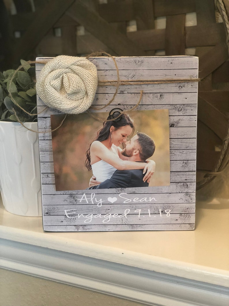 Bride To Be Personalized Engagement Picture Frame Vintage Rustic Frame She Said Yes Gift Bridal Shower Gift New Bride Gift