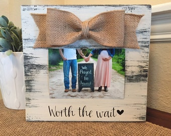 Worth The Wait Baby Announcement Grandparents Sign Grandma Custom Picture Frame Gift New Baby Frame Pregnant Baby Ultrasound Frame
