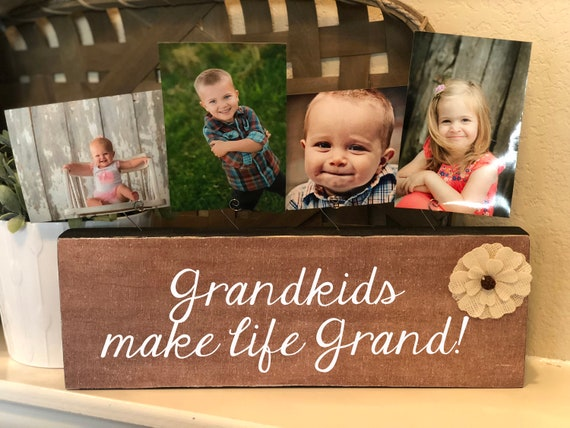 Grandkids make life grand Personalized picture frame gift for grandma grandpa gigi mimi nana great grandma papa grandparents memaw pawpaw