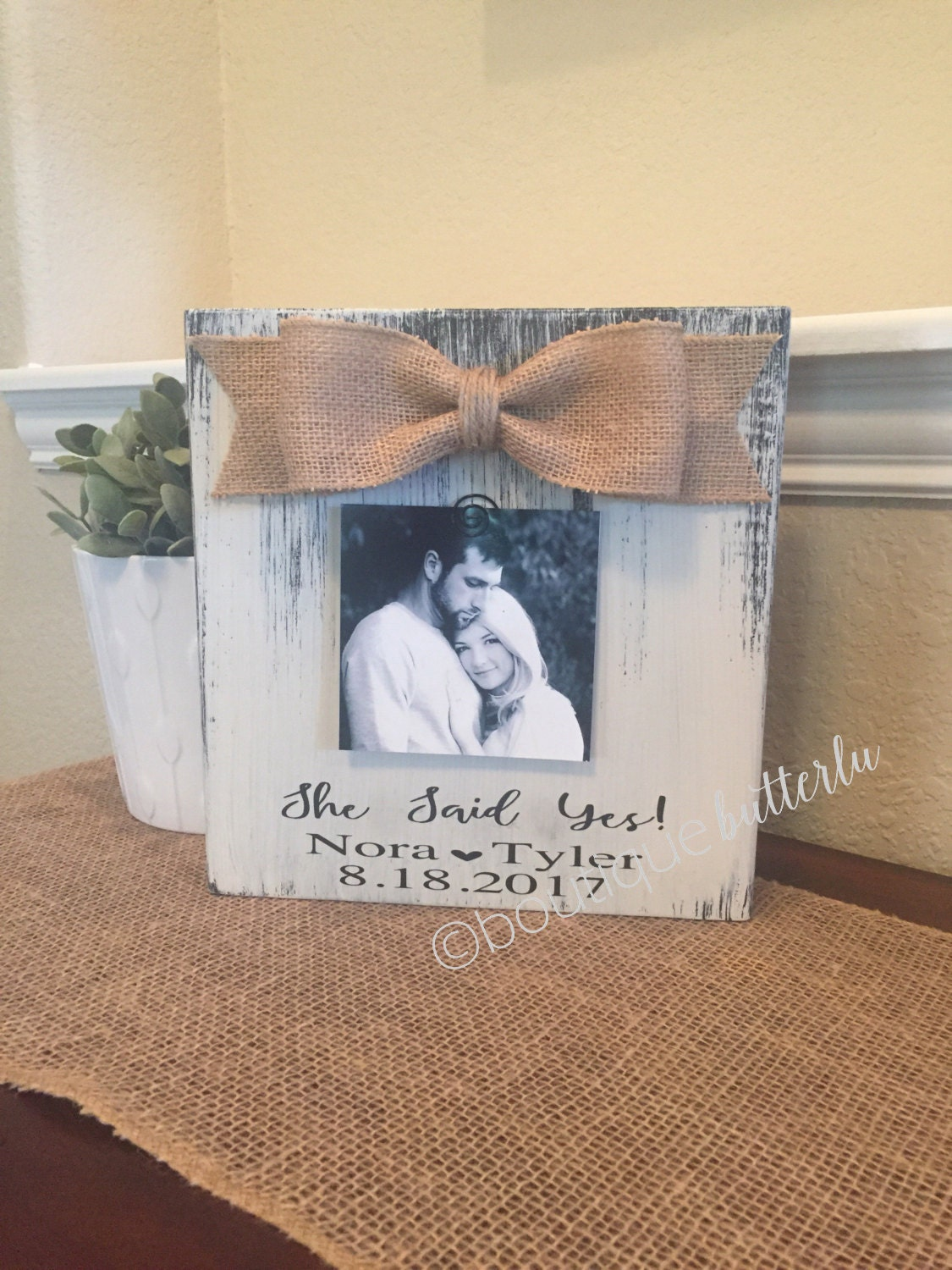 Engagement Gift Personalized Engagement Frame Wedding Gift She Said ...