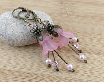 Pink Lucite Flower Earrings. Long Flower Earrings. Spring Floral Jewelry. Fairy Earrings. Romantic Jewelry. Antique Bronze Lily Flowers..