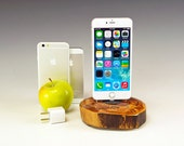 Charging station for ANY iPhone. Includes wall charger. 728. Reclaimed log slice. Live edge. FAST shipping.