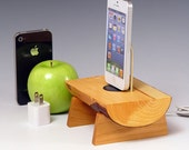 Docking station for ANY iPhone. Includes wall charger. 531. Live edge Eucalyptus and Black Cherry.  FAST SHIPPING.