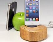 Docking charging station for ANY iPhone. Wood log iPod dock. Lathe turned. 454. Reclaimed log slice. Live edge. FAST shipping.