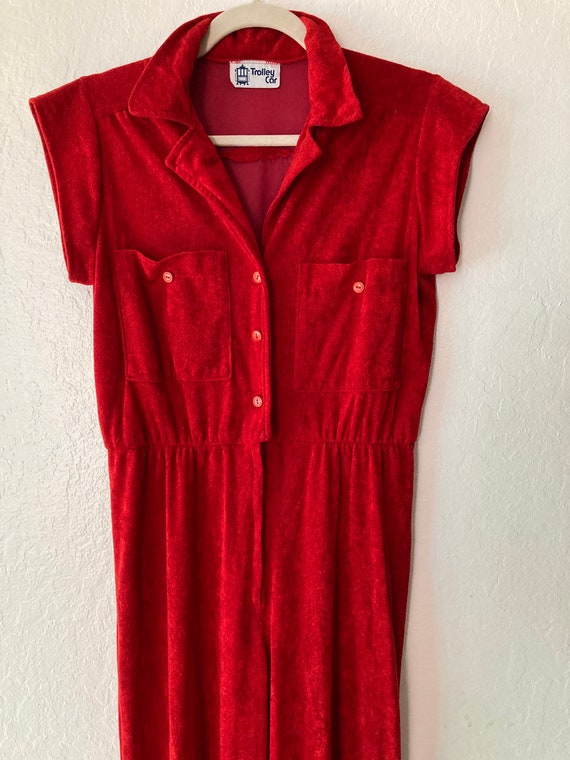 1970s Beachy Fire Red Terry Jumpsuit