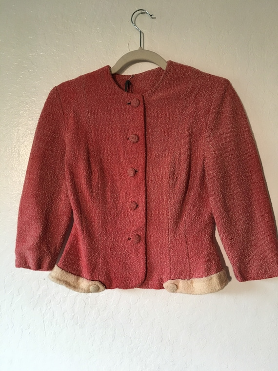 1940s Ruby Tailored Boucle Crop Jacket