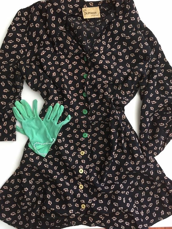 1940s Slimaker Original Floral Day Dress with Gree