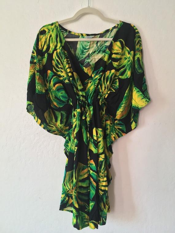 1980s Neon Banana Leaf Coverup Dress