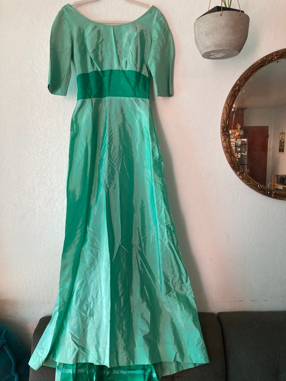 1940s Irridescent Pastel Green Taffeta Gown