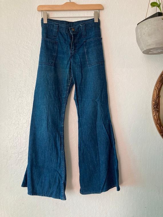 1960s High Waisted Classic Blue Flat Front Sanfori