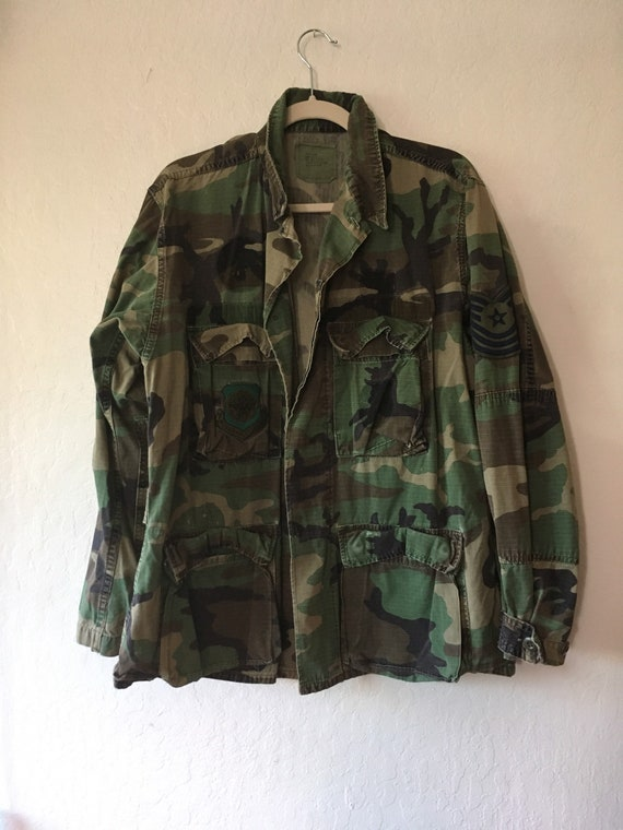 1970s Army Airforce Camouflage Patch Jacket