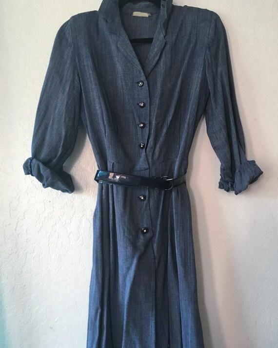 1940s Denim Blue Rayon Chambray Day Dress