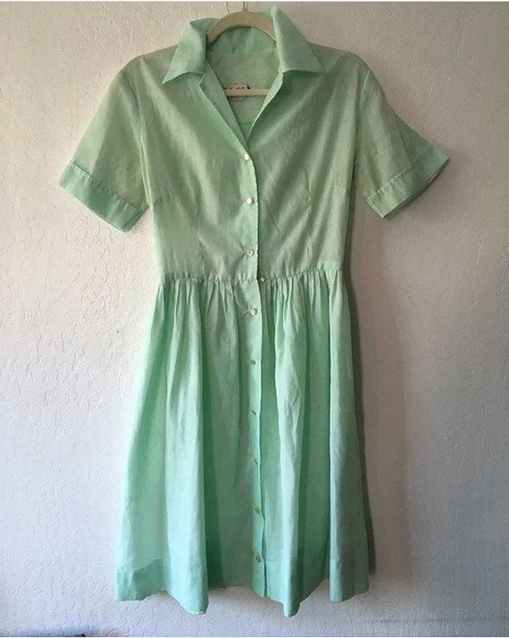 1960s Pastel Green Embroidered Cotton Day Dress