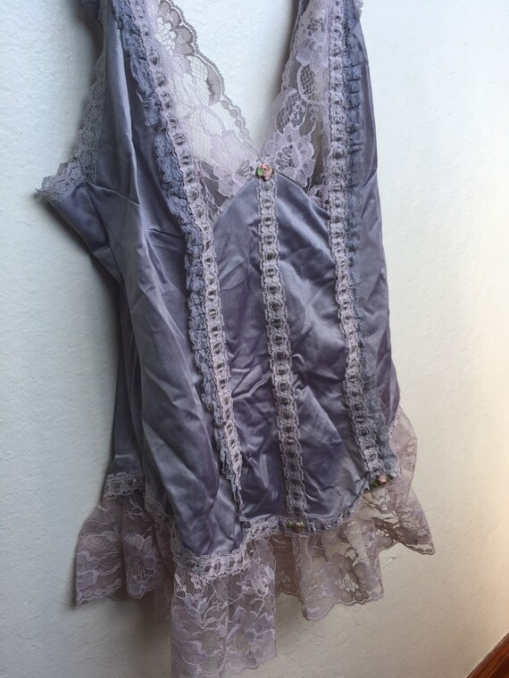 1970s Silver Lace & Satin Camisole - image 2