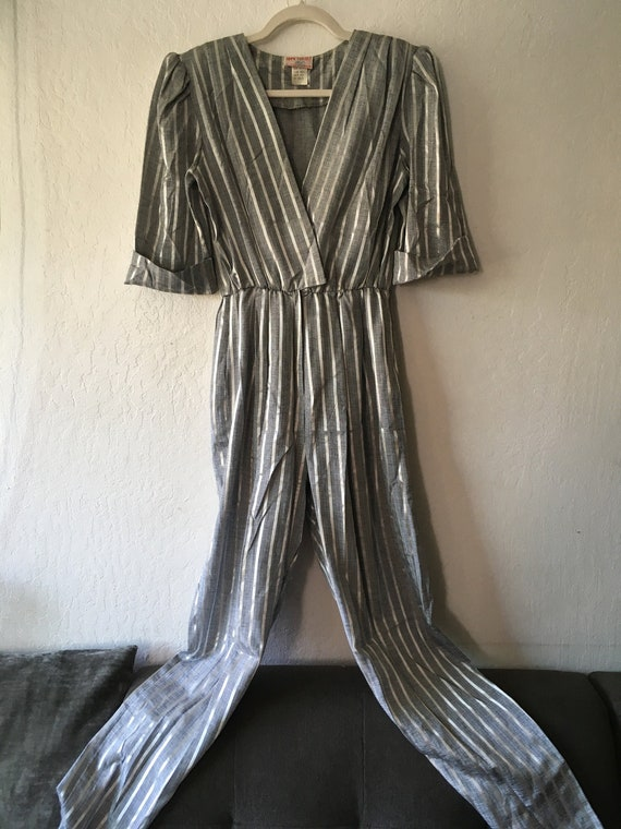 1970s Studio 54 Metallic Silver Striped Jumpsuit