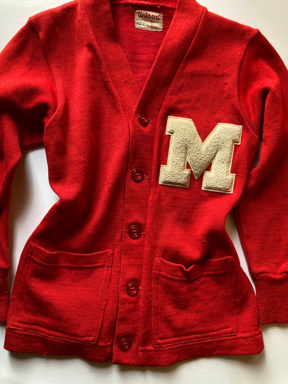 1940s Wool Wilson Monogram Cardigan Sweater Letter