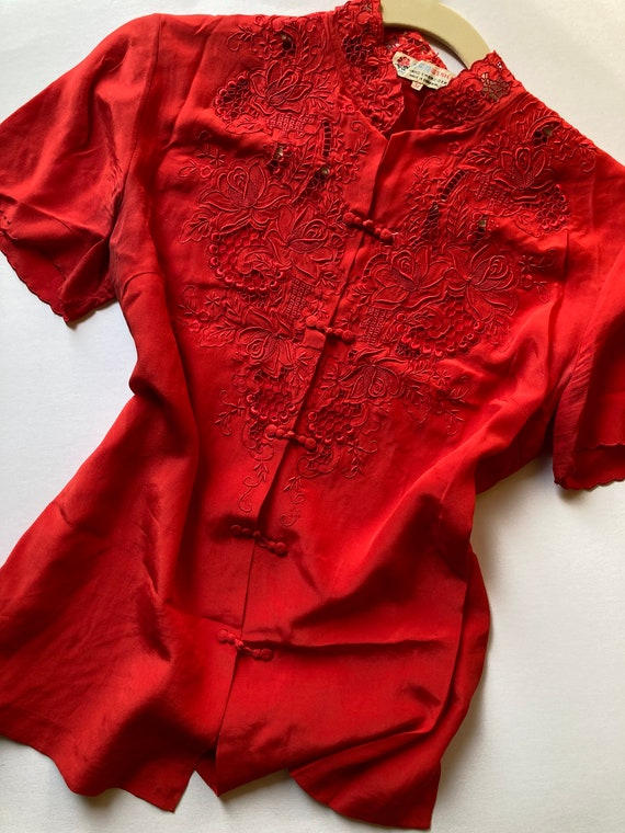 1940s Silk Hand Embroidered Bright Red Mandarin Bl