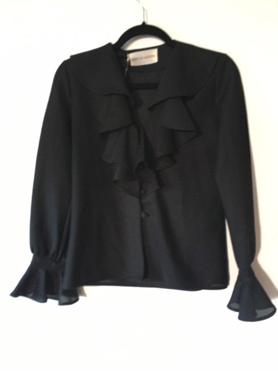 1960s Inky Black Poet Sleeve Shakespeare Blouse