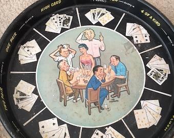 Vintage Masonware Poker Drink Tray