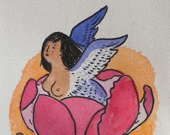 peony harpy original painting