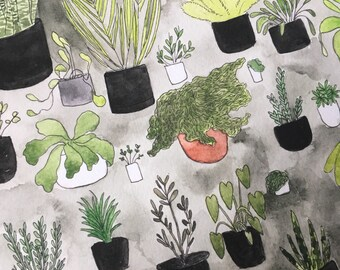 Indoor jungle plants print