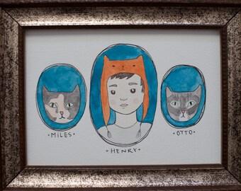 framed custom cat portait