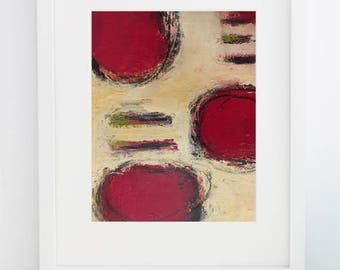 Crimson Love - Cold Wax Painting - 8x10 Matted