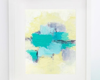 Swimming Pool - Cold Wax Painting - 8x10 Matted