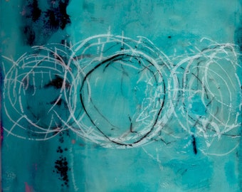 """Above the Surface - Encaustic - 6""""x6"""""""