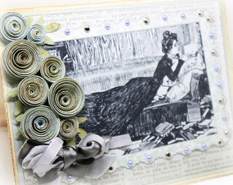 Mother's Day Card - Book Lover Vintage Inspired Handmade Greeting Card - English Roses