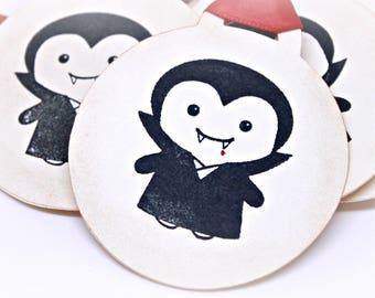 Halloween Gift Tags (Double Layered) - Dracula Tags - Vampire Tags - Monster Tags - Handmade Halloween Goodie Bag Tags (Set of 8)