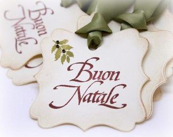 Christmas Tags (Doubled Layered) - Buon Natale Merry Christmas Italian Christmas - Vintage Inspired Christmas Gift Tags  - Set of 8