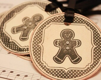 Christmas Tags (Doubled Layered) - Gingerbread Man Tags- Handmade Vintage Inspired Christmas Gift Tags - Christmas Cookie Tags - Set of 8