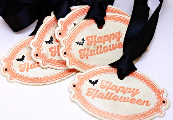 Halloween Gift Tags Vintage Inspired Handmade Halloween Oversized Tags - I/'ll Put A Spell On You Double Layered Set of 5