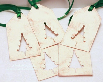 Christmas Tags (Double Layered) - Christmas Tree Tags (A) - Cut-Out Tags- Handmade Vintage Inspired Christmas Gift Tags - Set of 5