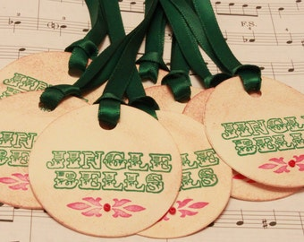Christmas Tags (Doubled Layered) - Jingle Bells Tags - Handmade Vintage Inspired Christmas Gift Tags - Set of 8