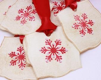 Christmas Tags (Double Layered) - Nordic Snowflake Gift Tags - Handmade Gift Tags- Vintage Inspired Christmas Hang Tags - Set of 8
